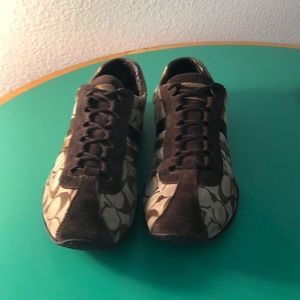 Coach Brown Monogrammed Laced Athletic Flats 10